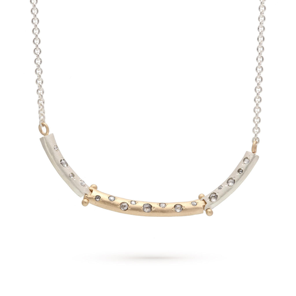 Speckled Diamond Hinged Bar Necklace