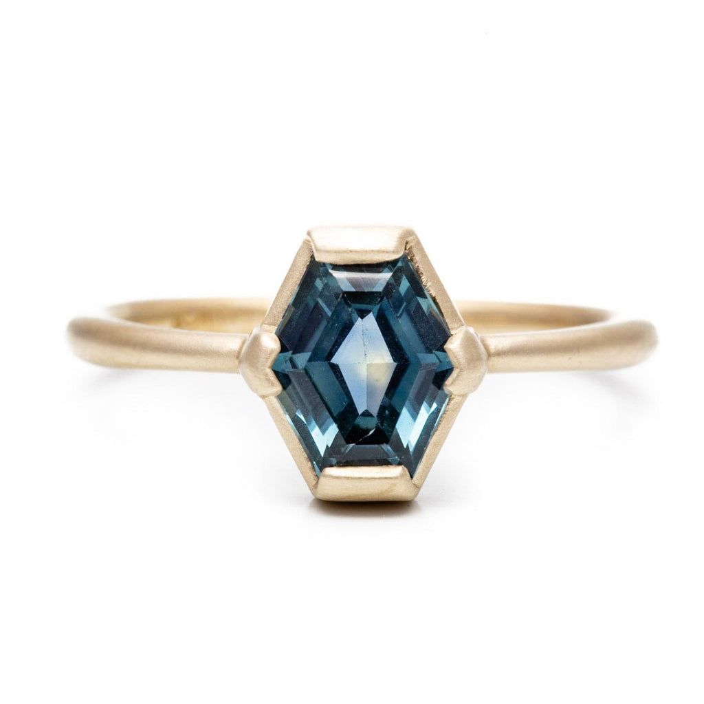 Elongated Hexagon Montana Sapphire Ring