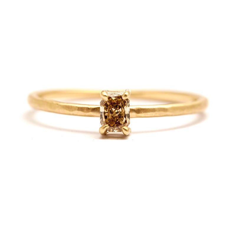 Radiant Cut Champagne Diamond Ring