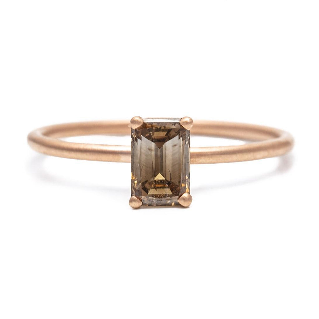 Cognac Emerald Cut Diamond Ring