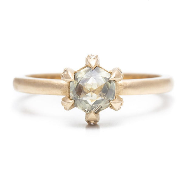 Hidden Pavé Claw Prong Hexagon Ring