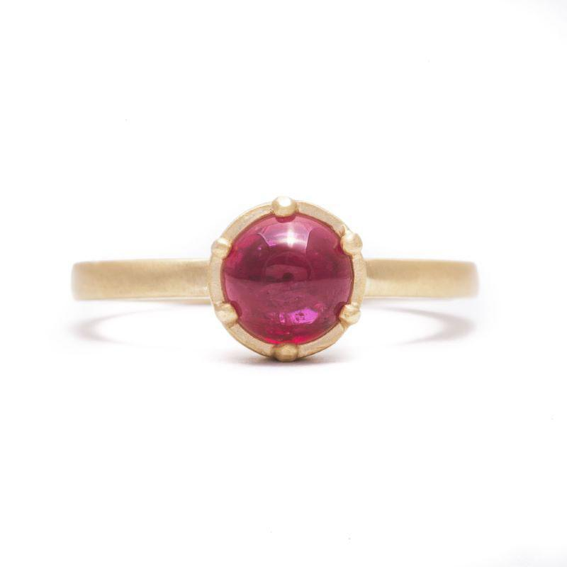 Six Prong Cabochon Pink Sapphire Ring
