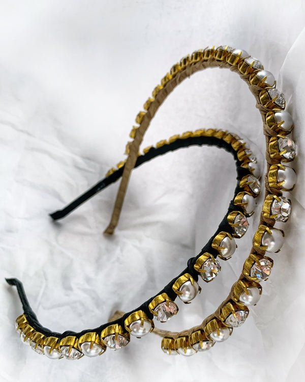 Pearl and Crystal Silk Headband