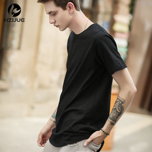Men Urban Kpop Extended T-shirt Curved Hem Plain Male Hip Hop
