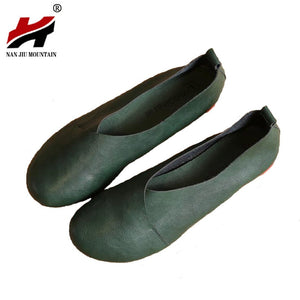 2017 Original Vintage Art handmade shoes Brand Microfiber Leather Flats Women Shoes Shallow mouth Casual Fashion Women Shoes