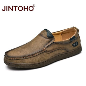 JINTOHO Fashion Brand Men Shoes Luxury Genuine Leather Slip On Loafers