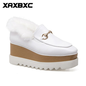 XAXBXC 2018 Spring Retro White PU leather Platform Women Shoes Square Toe Wedges Women Shoes Handmade Casual Lady Shoes