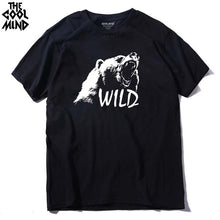 Load image into Gallery viewer, COOLMIND BE0114A 100% cotton bear printed men t shirt casual short sleeves