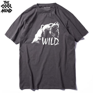 COOLMIND BE0114A 100% cotton bear printed men t shirt casual short sleeves