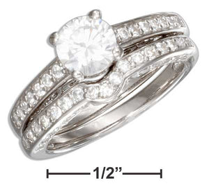 Sterling Silver Pave Vintage Design Round Cubic Zirconia Wedding Ring Set