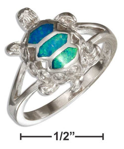 Sterling Silver Synthetic Blue Opal Turtle Ring