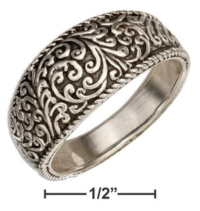 Sterling Silver Tapered Floral Scroll Band Ring