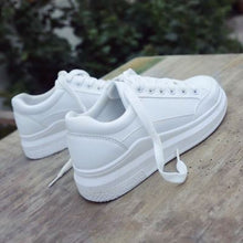 Load image into Gallery viewer, White Casual Sneakers for women Breathable Flats Lace-Up Shoes