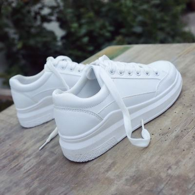 White Casual Sneakers for women Breathable Flats Lace-Up Shoes