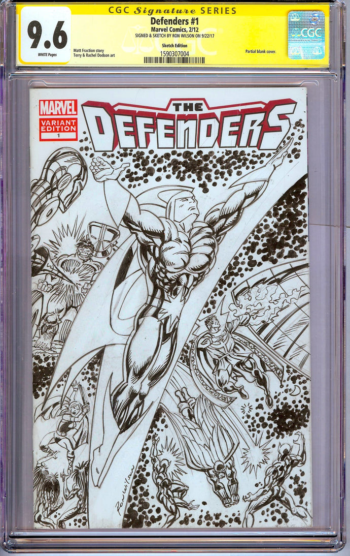 Defenders #1 CGC 9.6 SS Sketch by Ron Wilson