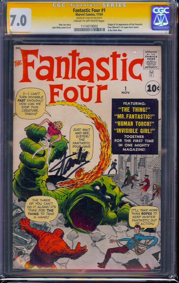 Fantastic Four #1 CGC 7.0 SS Signed Stan Lee