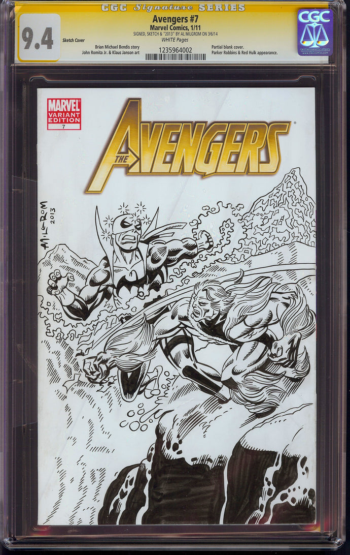 Avengers #7 CGC 9.4 SS Sketch by Al Milgrom