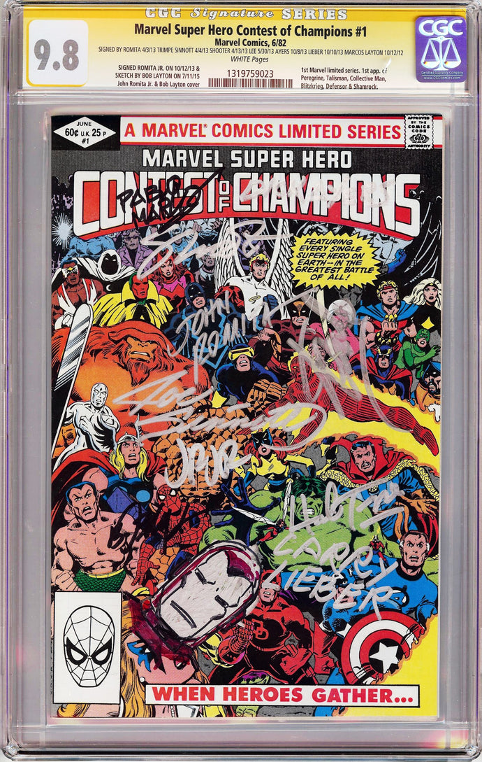 Marvel Super Hero: Contest of Champions #1 CGC 9.8 SS Signed 9x