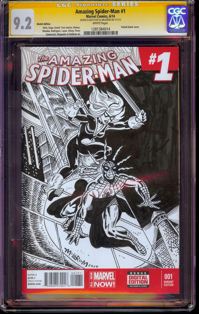 Amazing Spider-Man #1 CGC 9.2 SS Sketch by Al Milgrom