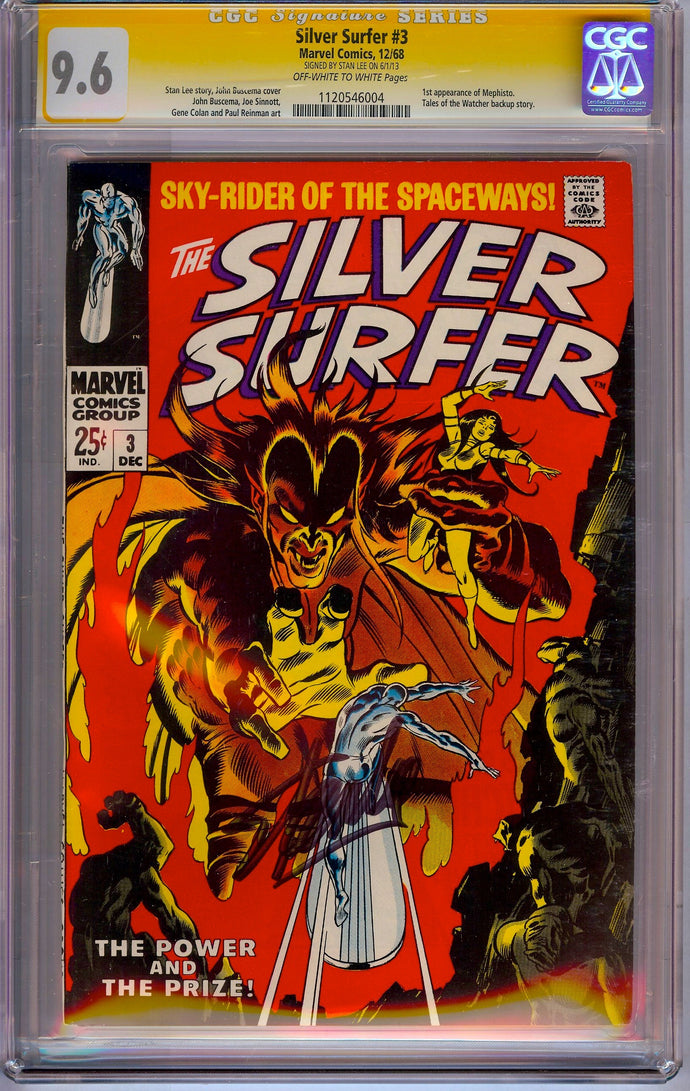 Silver Surfer #3 CGC 9.6 SS Signed by Stan Lee