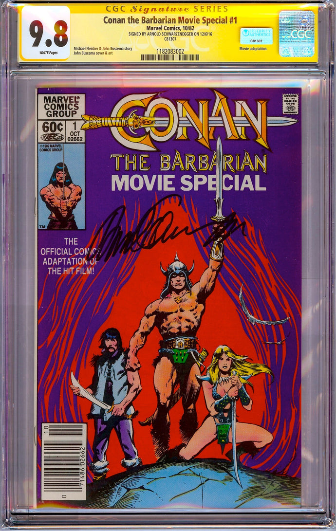 Conan the Barbarian: Movie Special #1 CGC 9.8 SS Signed by Arnold Schwarzenegger