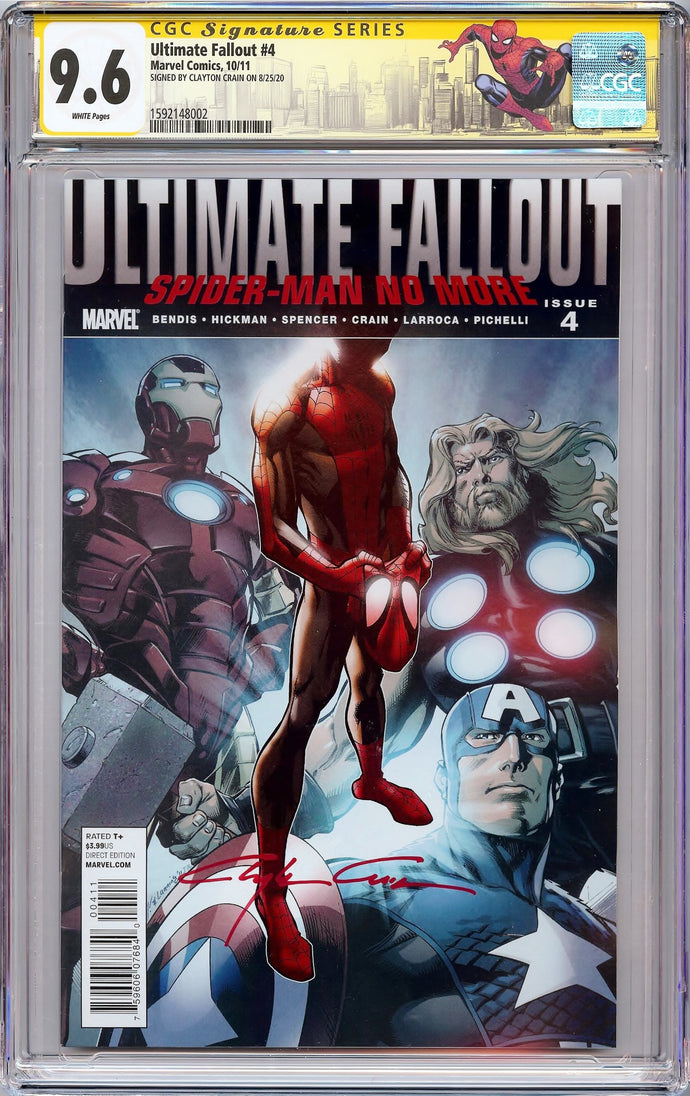 ULTIMATE FALLOUT #4 1ST PRINT CGC 9.6 SS Signed Clayton Crain! 1ST MILES MORALES