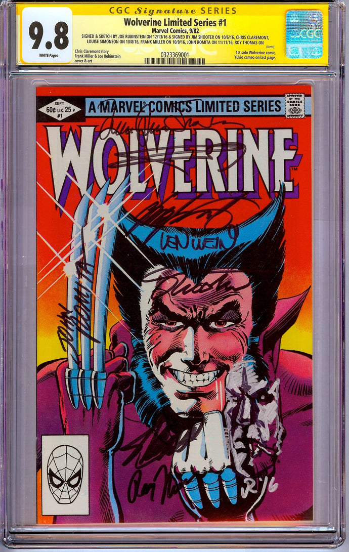 Wolverine Limited Series #1 CGC 9.8 SS Signed 8x plus Stan Lee