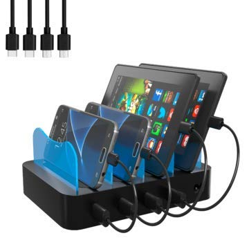 Hercules Tuff Charging Station | 4 Ports | Phone Dock or Stand | Compatible with Samsung, iPhone, Ipad | Cables Included (Black, 4 Port - 4 MicroUSB Cables)