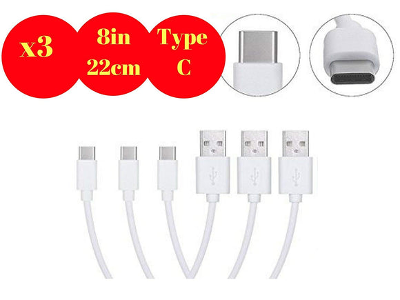 Short Android Type C Cables for Powerbank, Charging Station 22cm / 8 Inch (TypeC-22cm)