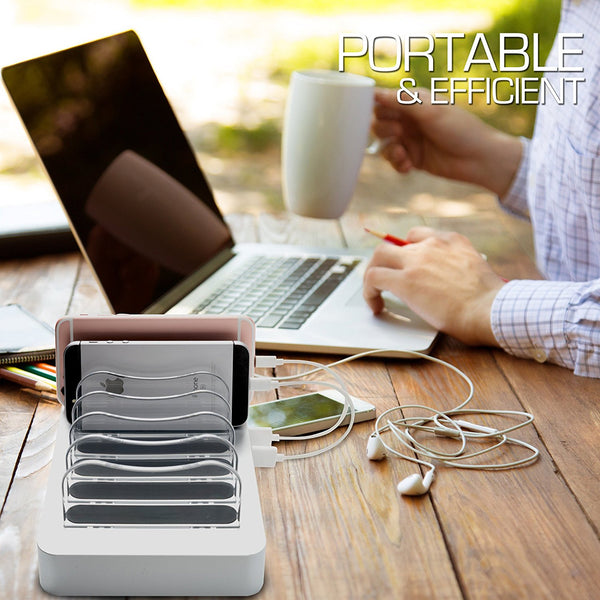 Hercules Tuff 6-Port Charging Station for Multiple Devices - Silver