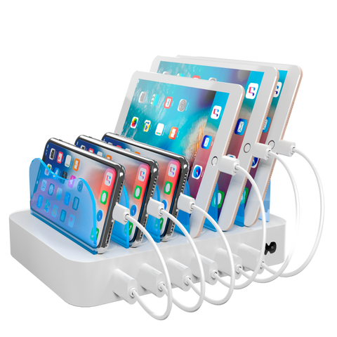 Hercules Tuff Charging Station with 6 Lightning Cables - White