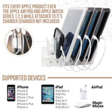Hercules Tuff Charging Station White - 6 USB Cables Included : Compatible for Apple Products Such as iPhone 6/7/8/X