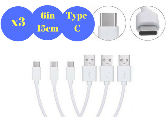 Short Android Type C Cables for Powerbank, Charging Station 15cm / 6 Inch (TypeC-15cm)