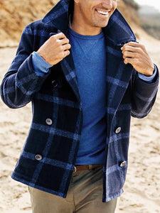 Mens classic casual check short double-breasted coat