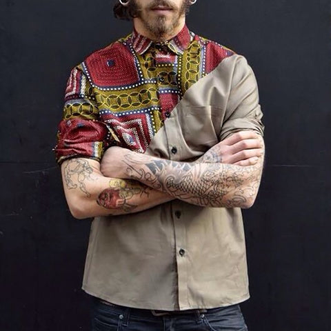 Fashion Mens Casual Patchwork Print Shirt