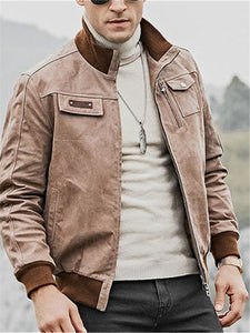 Mens Casual Stand Collar Zip Jacket
