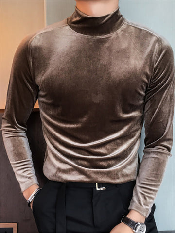 Mens Casual Solid Color High Collar T-shirt