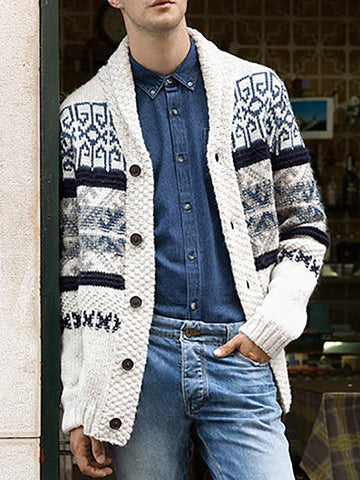 Casual Mens Casual Printed Knit Jacket
