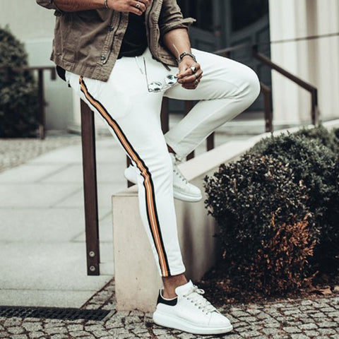 Mens Fashion Slim Contrast Colour striped Trousers
