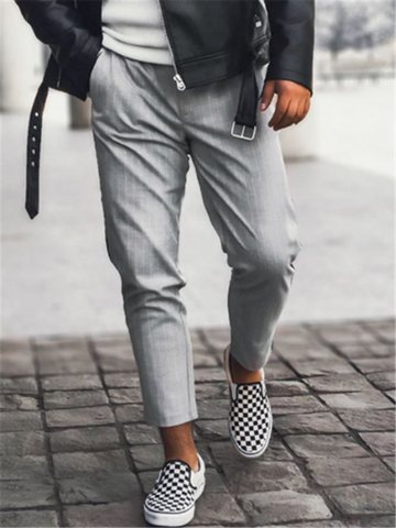 Mens Casual Striped Cropped Pants
