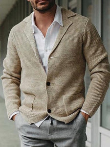 Mens Casual Lapel Solid Color Knit Cardigan
