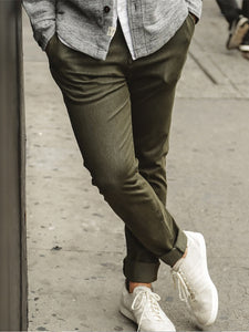Simple men's casual solid color trousers