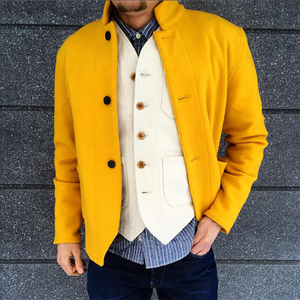 Mens Casual Stand Collar Solid Color Coat