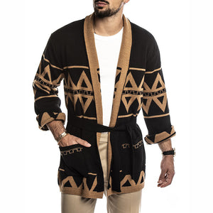 Mens Casual Printed Knit Cardigan