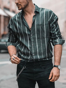 Mens Classic Casual Striped Shirt