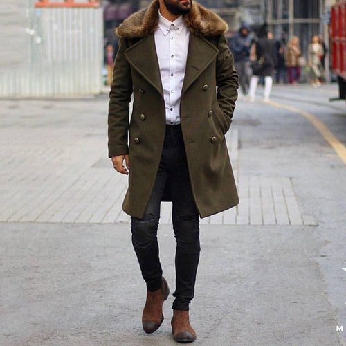 Mens Chic Plain Lapel Collar Button Thicken Woolen Long Coat