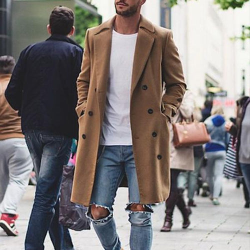 Classic Slim Fit Pure Color Slim Button Lapel Long Sleeve  Mens Coat