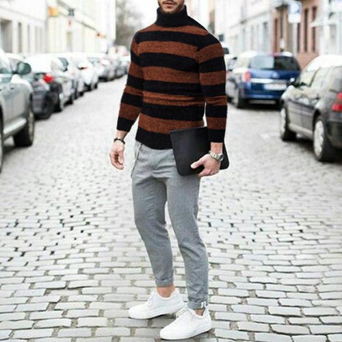 Crew-Neck Stripe Winter Sweater - ChicMay
