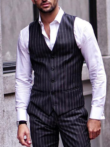 Mens Classic Slim Striped Vest