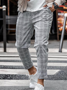 Mens Classic Casual Plaid Trousers